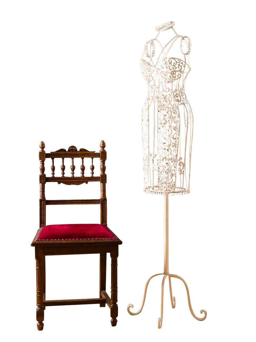 aubaho Nostalgie Schneiderpuppe Metall Garderobe Stummer Diener Puppe Antik-Stil 140cm