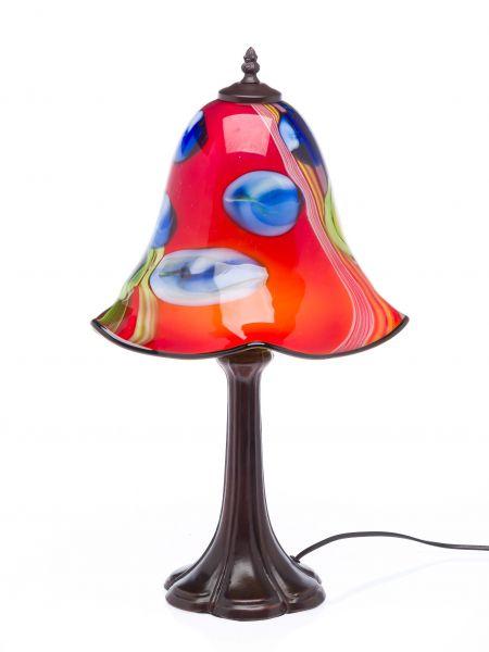 Tischlampe Lampe rot Glas Glasschirm im Murano Stil 53cm glass table lamp red
