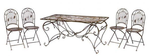 XXL Gartentisch + 4 Stühle Eisen Tisch Gartenmöbel antik Stil garden furniture