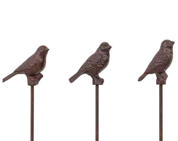 Set 3x Erdspiess Garten Vogel Eisen Gartendeko Gartenstecker Antik-Stil 101cm