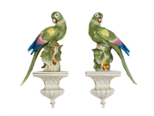 2x Porzellan Papagei Paar Vogel Wandkonsole Figur antik Stil sclupture parrot