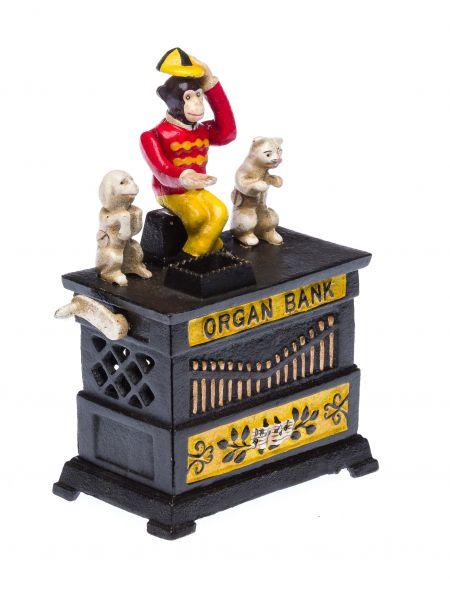 Nostalgie Spardose Drehorgel mit Affe Hund und Katze Drehorgel Eisen moneybox