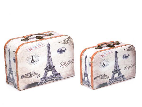 2x Koffer Box Kiste antik Stil Holz Kosmetikbox Eiferturm Schatzkiste Truhen