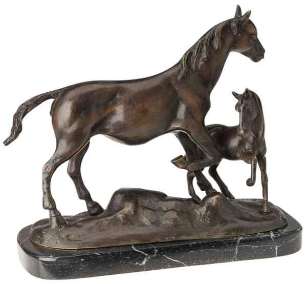 Bronze Pferd mit Fohlen Reiten 26cm Bronzefigur Bronzeskulptur antik Stil Statue