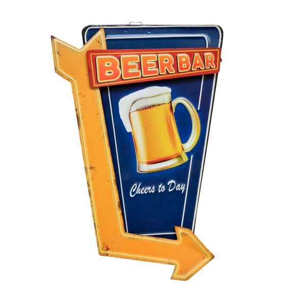 Blechschild Hinweisschild Beer Bar 45cm Pfeil Biergarten Wandschild Antik-Stil