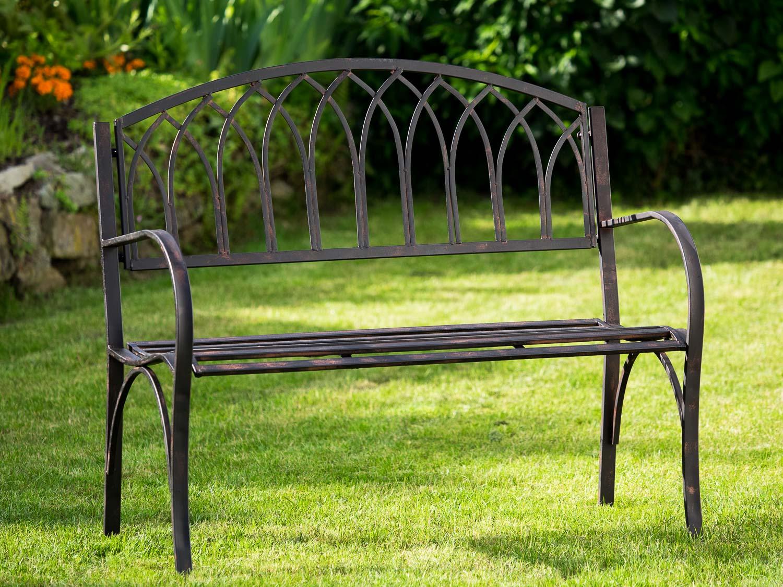 Nostalgie Gartenbank Metall stabil antik Stil Gartenmöbel Garten braun Neu