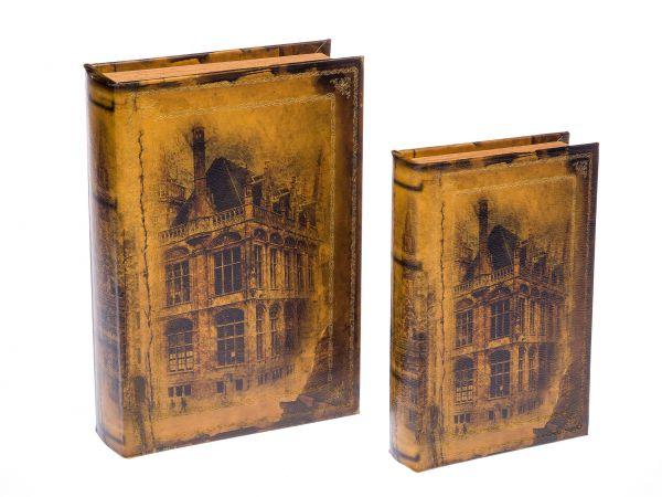 2x Schatulle Box in Buchform Holz Schmuck Buch Stadt Aufbewahrung Buchattrappe