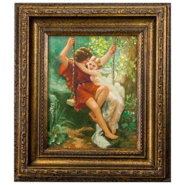 Original Gemälde Liebespaar Schaukel Ölgemälde mit Rahmen Ölbild Antik-Stil 38cm