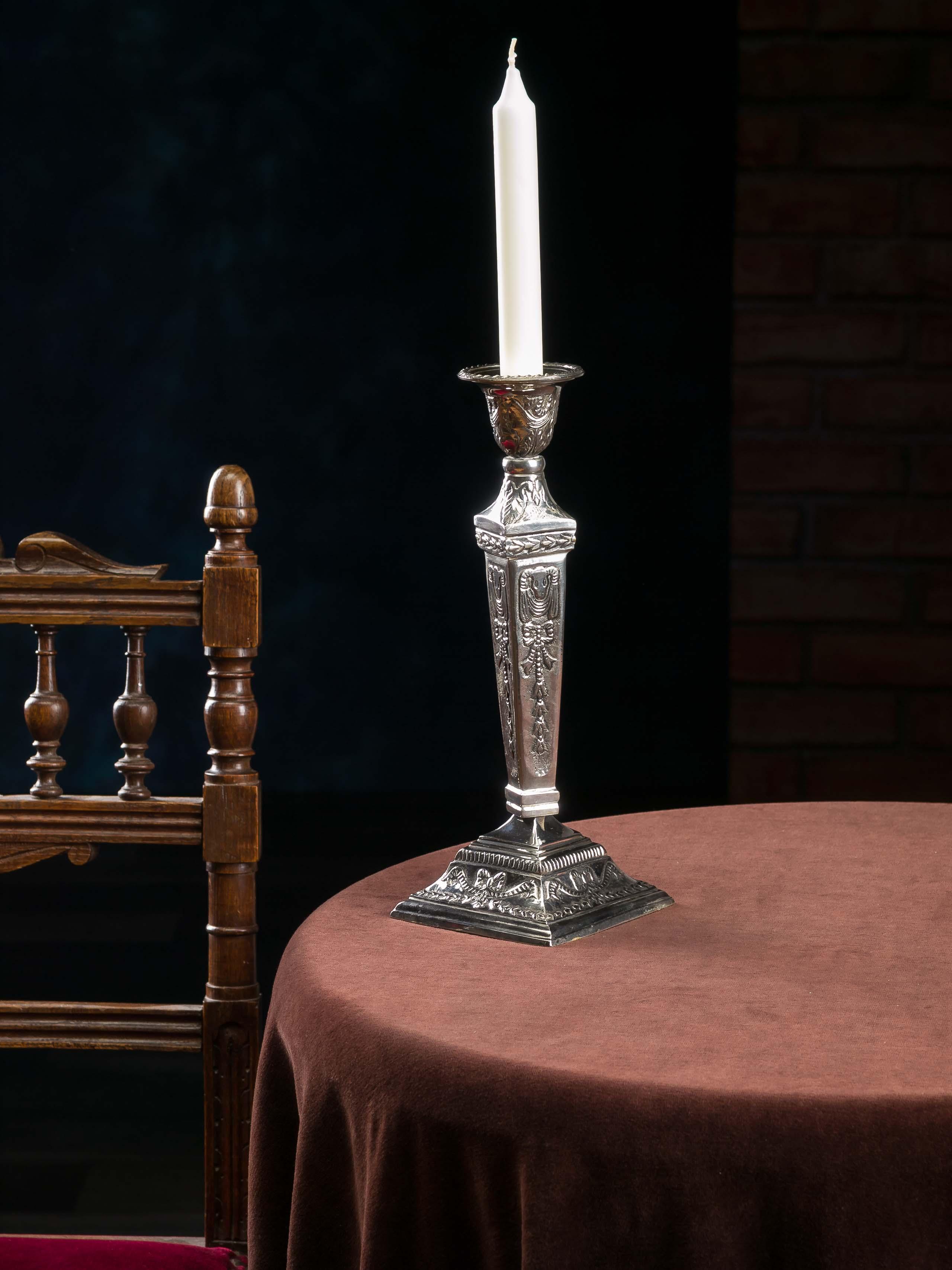 3er Set Kerzenständer Kerzenleuchter vernickelt Leuchter Candlestick antik Stil