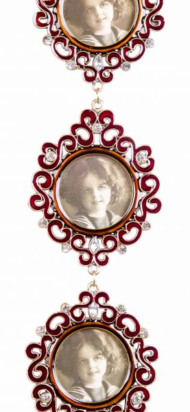 Fotorahmen antik Stil Hartzinn Emaille 3x Foto 4x4cm Strass Kette Wand Rahmen