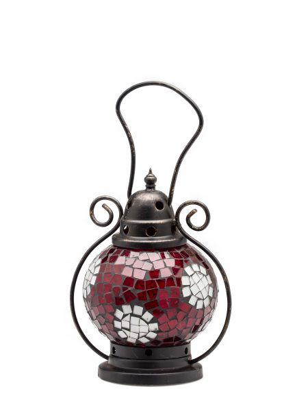 Windlicht Laterne Lampe Teelicht Garten Terasse Haus Glas rot weiss 20cm