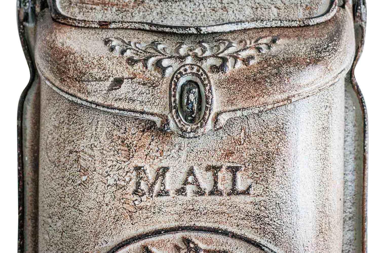 Boîte aux lettres boîte aux lettres murale fer antique style un Style Campagnard Cheval Shabby Gris Iron