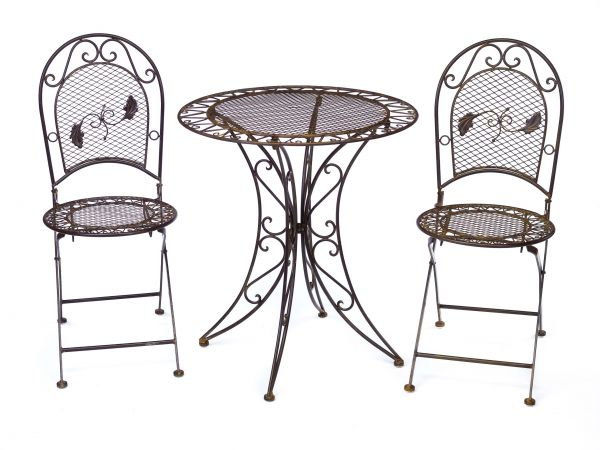 Gartentisch 2x Stuhl Eisen Antik-Stil Gartenmöbel Garnitur Garten Bistro Set