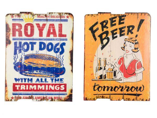 2x Bild Wandtafel Tafel Bier Holzbild Wandbild Hot Dog beer Restaurant Küche Bar