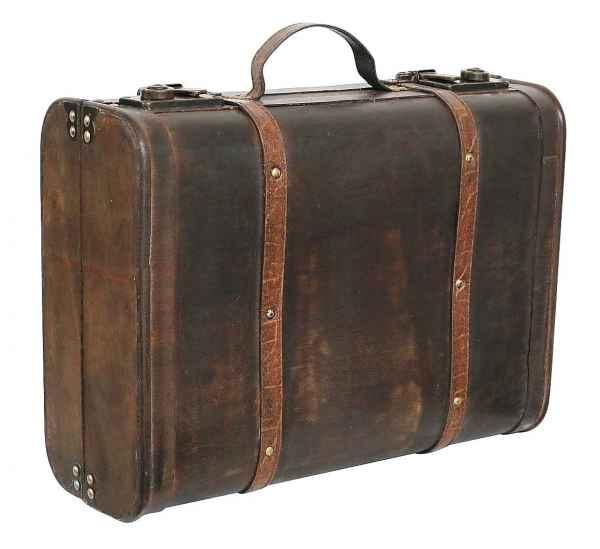 Koffer Holzkoffer Holz Nostalgie Antik-Stil Oldtimer Kiste 44cm braun Vintage