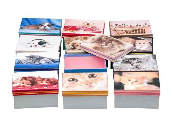 12x Set Aufbewahrungs Box Kasten Karton Dose Schmuckkasten Hund Katze