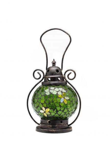 Windlicht Laterne Lampe Teelicht Garten Terasse Haus Glas Buntglas grün 20cm