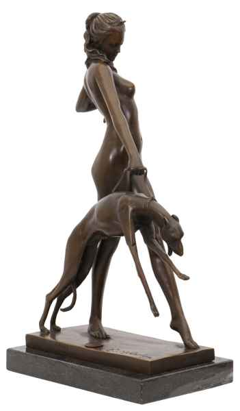 Bronzeskulptur Bronze Figur Göttin Diana Hund nach McCartan Antik-Stil Replik