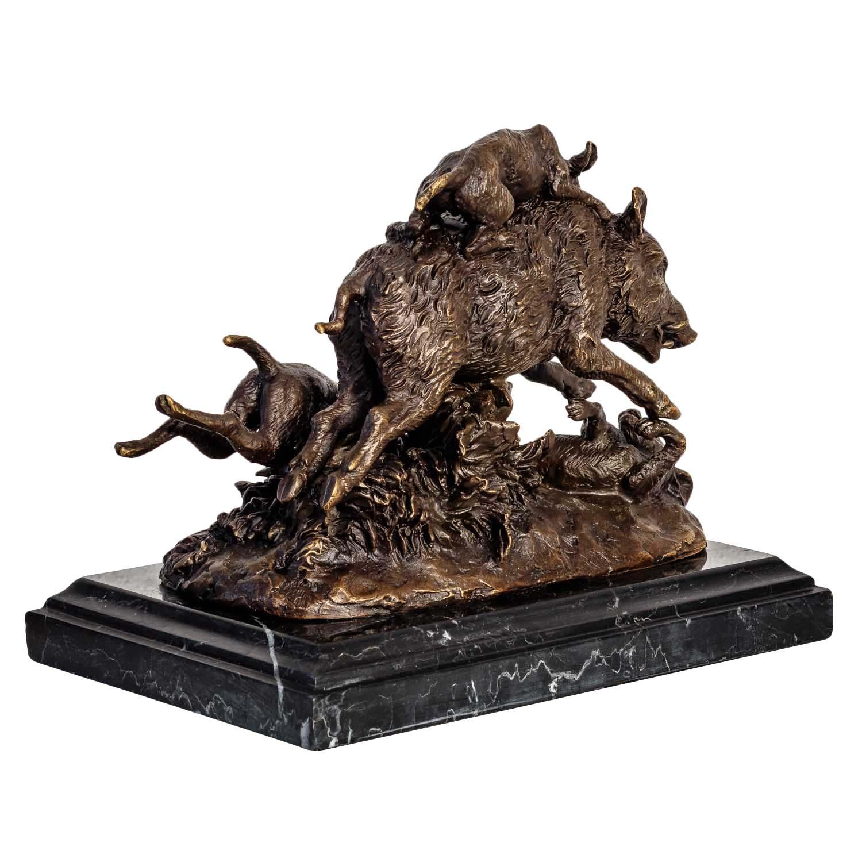 Bronzeskulptur Bronzefigur Skulptur Hund Wildschwein Jagd im Antik-Stil 23cm