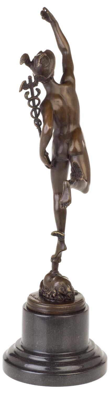 Bronze Figur Mercury Bronzeskulptur auf Marmosockel