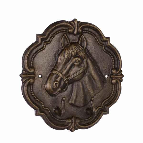 Kleiderhaken Wandgarderobe Garderobe Pferd Figur Eisen Antik-Stil 29cm