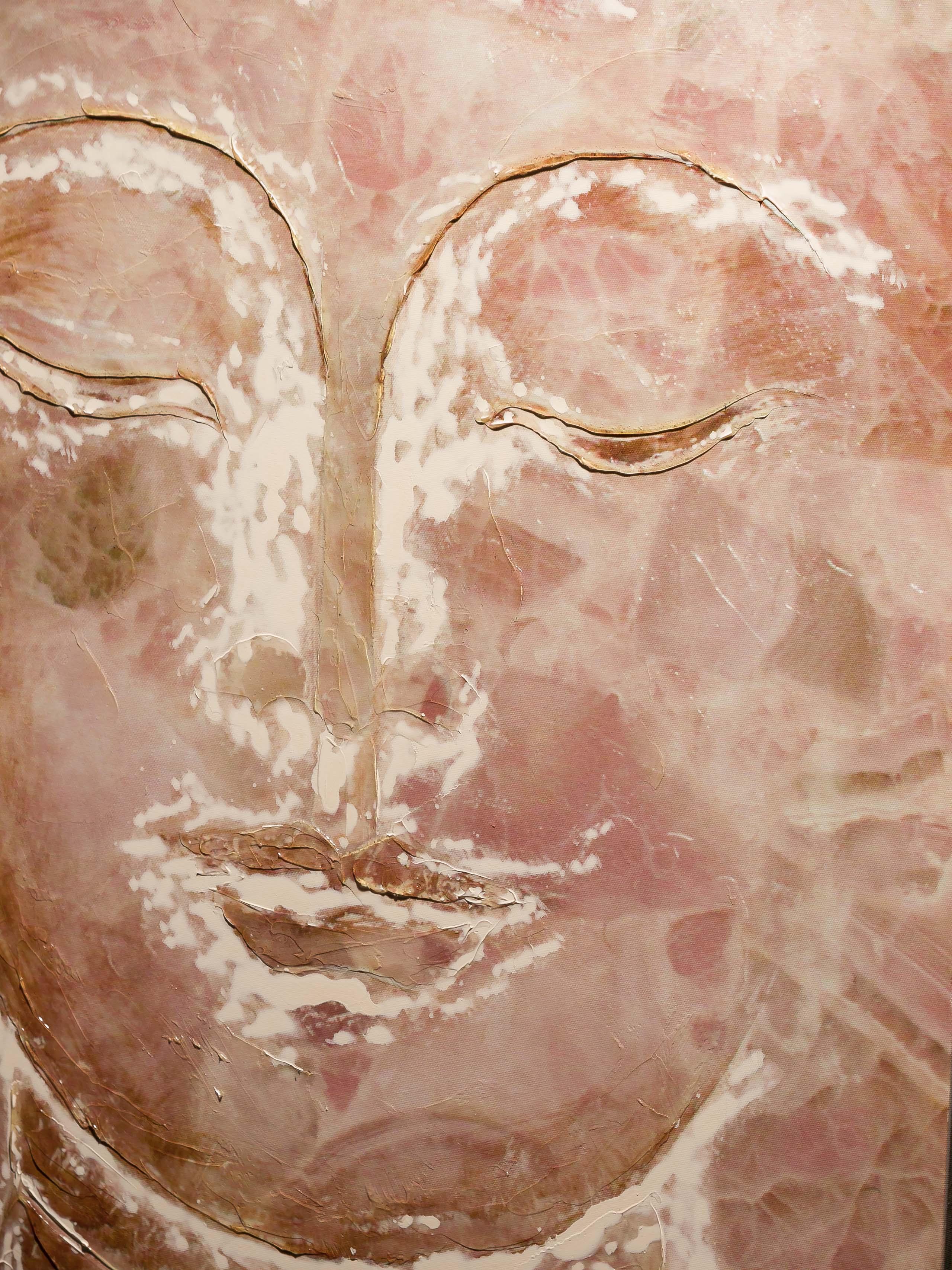 Original Riesen Öl Gemälde Bild Buddha Budda Indien mit Rahmen 154cm