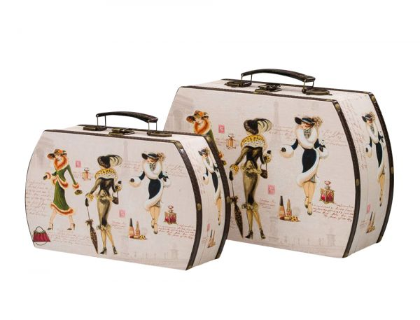 2x Koffer Beautycase Damen Paris Box Truhe Kofferset Kosmetikbox Holz antik Stil