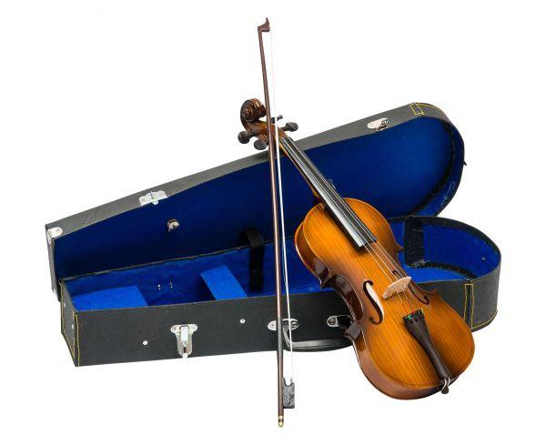 Geige Violine Violin mit Bogen und Koffer zur Dekoration Deko im antik Stil