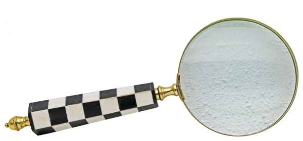 Lupe Leselupe Lesehilfe Antik-Stil Handlupe Vergrößerungsglas Schachbrett Muster