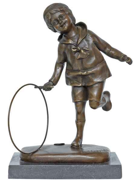 Bronzeskulptur Bronze Figur Junge Hoop Reifen nach Chiparus Antik-Stil Replik