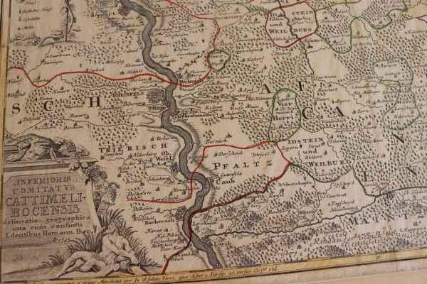 Antike Landkarte Cattimeli Bocensis Cazenelnbogen Inferioris Comitat VS