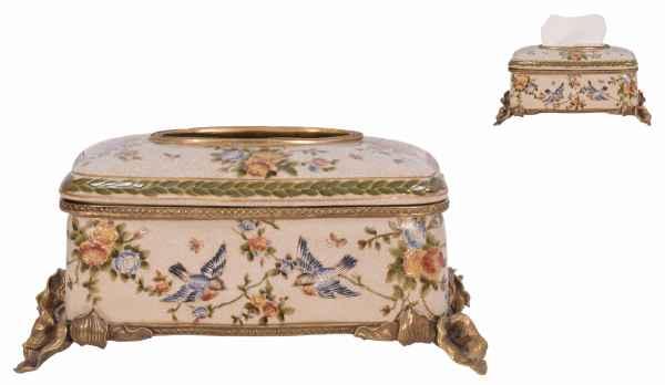 Tissue Box porcellana ottone lattina fazzoletto uccello fiore stile antico 28cm
