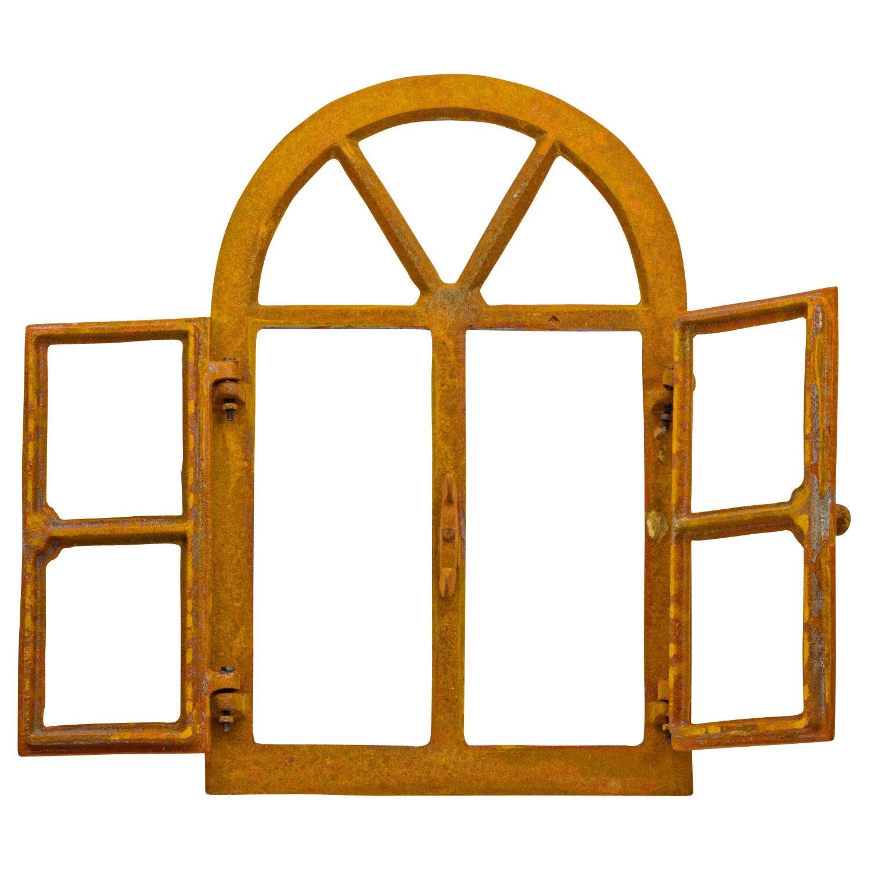 Fenêtre de grange fer forgé a3 rouille style antique 75cm