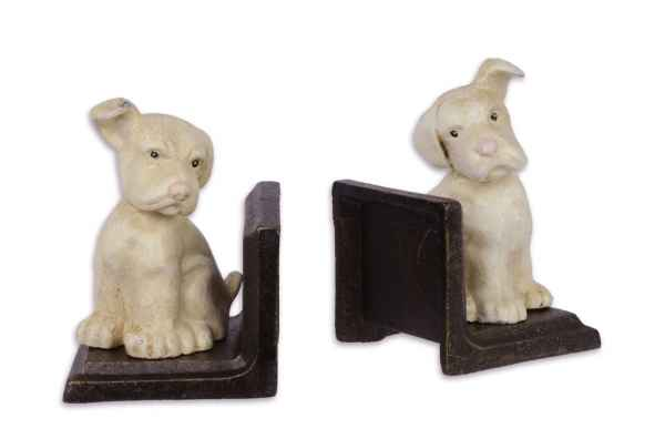 2 Buchstützen Buchständer Hund Figur Eisen 13cm Antik-Stil