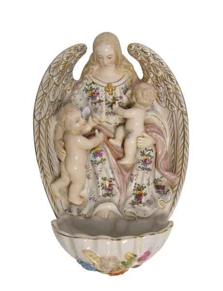 Weihwasserbecken Porzellan Religion Engel Antik-Stil 24cm