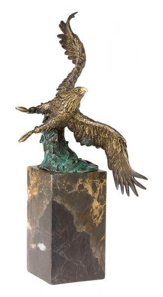 Bronzeskulptur Skulptur Adler im Flug Königsadler Bronze 33cm im Antik-Stil