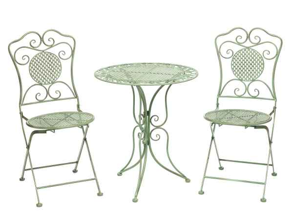 Garden Furniture Set Table 2 Chairs Green Antique Style