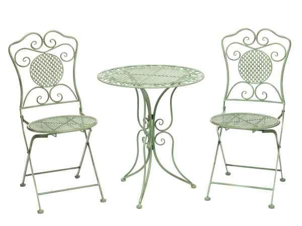 Gartenset Tisch Und 2 Stühle Eisen Antik Stil Gartenmöbel Grün Bistroset
