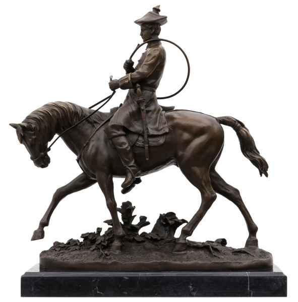 Bronzeskulptur Reiter Louis XV im Antik-Stil Bronze Figur Statue 38cm