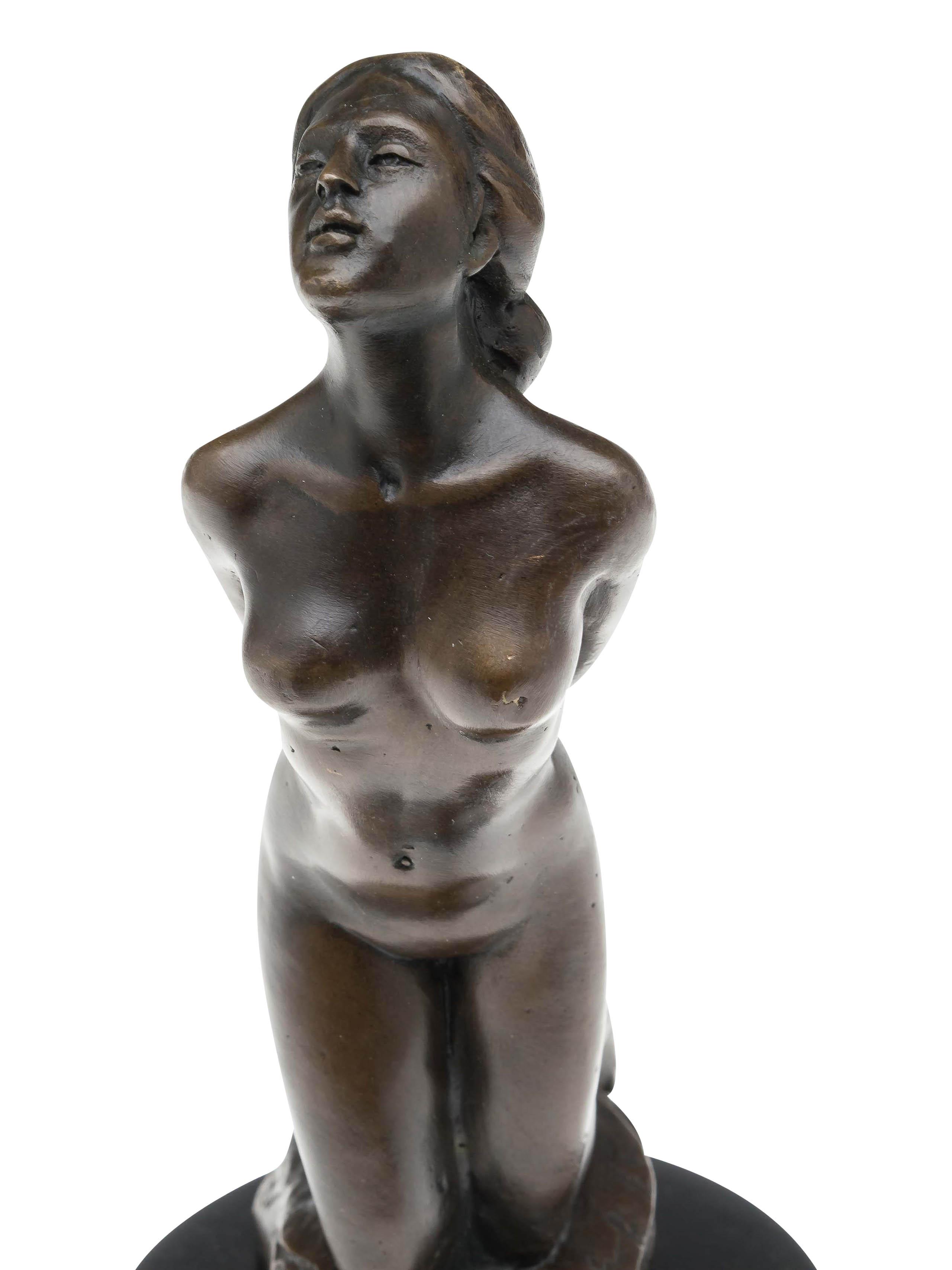 Brąz Przedmioty z metalu Bronzeskulptur Frau Erotik kniende Bronzefigur Bronze Figur Antik-Stil Nude