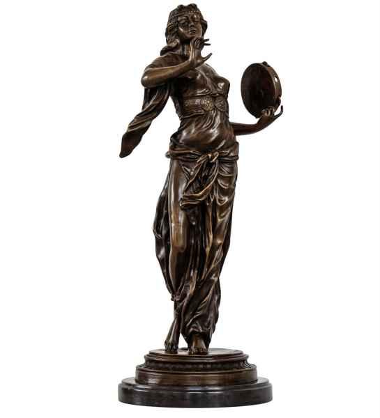 Bronzeskulptur Tänzerin Tamburin im Antik-Stil Bronze Figur Statue 52cm