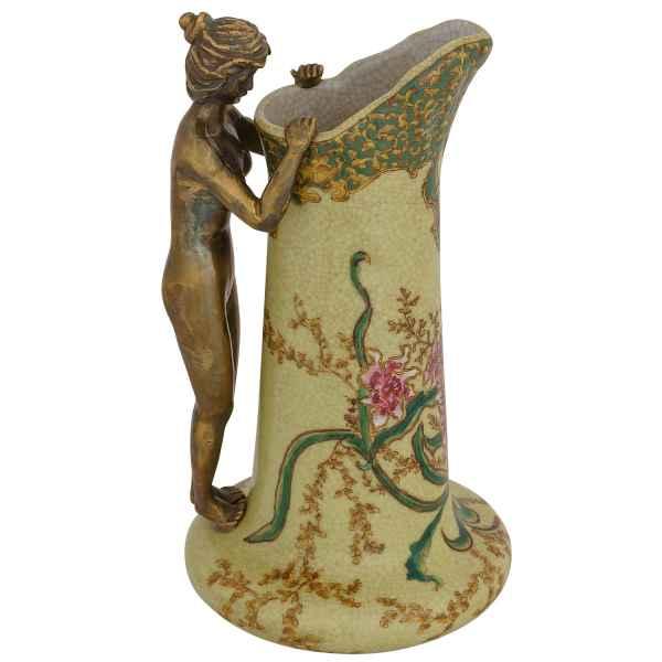 Karaffe Vase aus Porzellan Bronze im Jugendstil Antik-Stil Skulptur Akt 24cm
