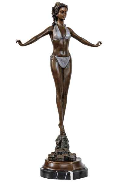 Bronzeskulptur Frau Bikini im Antik-Stil Bronze Figur Statue 72cm