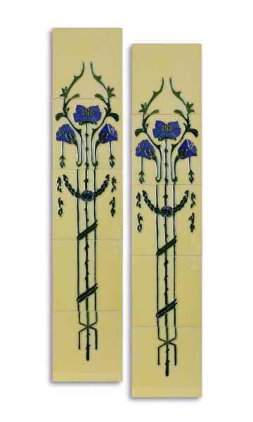 10x Tegel handgeschilderde tegel replica antieke stijl art nouveau set (L)