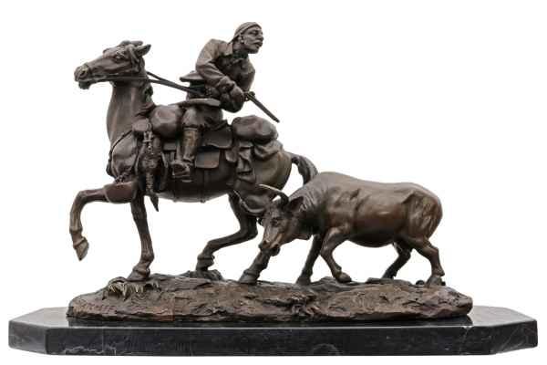 Bronzeskulptur nach Yakovlevich Grachev Russland Jäger Pferd Figur Replika
