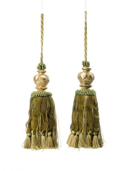 Paar Quasten Quaste 35cm antik Stil Schrank Gardine Anhänger Raffhalter grün