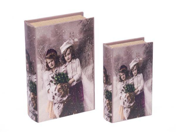 2x Schatulle Holz Buchattrappe Box Kästchen Schmucketui Buch Kinder antik Stil