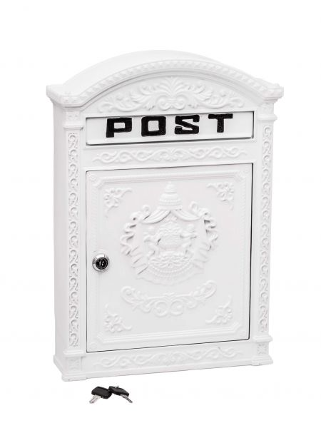Briefkasten Wandbriefkasten Aluminium Aluguss Nostalgie Postkasten weiss