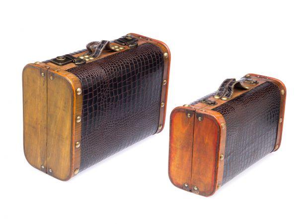 Paar Koffer Holzkoffer Holz Antikstil Truhen Nostalgischer Koffer Schatzkiste