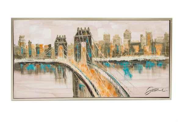 original lgem lde mit rahmen gem lde brooklyn bridge new york usa 124x64cm aubaho. Black Bedroom Furniture Sets. Home Design Ideas